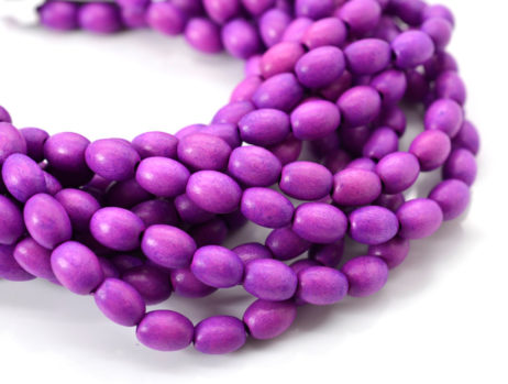 Oval  Wood Beads, 6-9mm,    2mm Hole,   45 pc  Strand, Orchid -B523