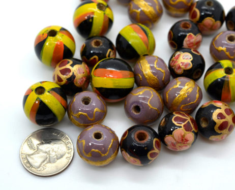 Painted Wood  Beads, 27pcs, Macrame Beads,  Mixed Sizes,   Hand Crafted  Beads -B448
