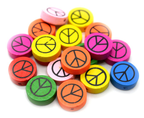 Peace Sign Beads, 50pcs, Painted Wooden  Beads, Round Disc,  Wood Beads -B528