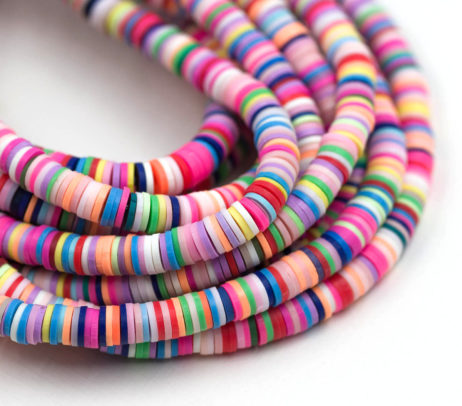 polymer Clay Disc beads, Rainbow, 6mm, 1 Strand  -B12