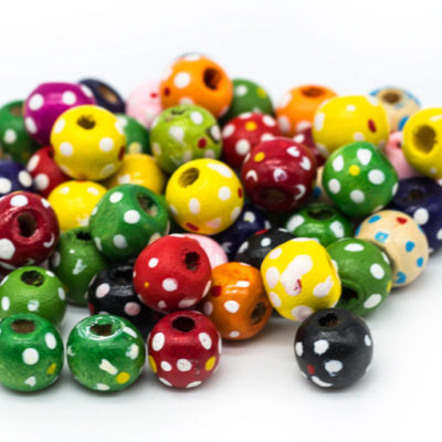 Round Ball  Wood  Beads, 100pcs, 10mm, Painted Wood Beads, Flower pattern, 3mm Hole -B743