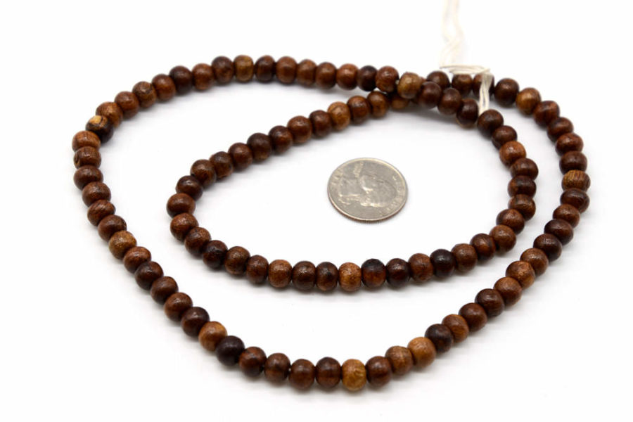 Round Wood Beads, 8mm, 100pc, Brown  Beads, 2mm Hole -b395