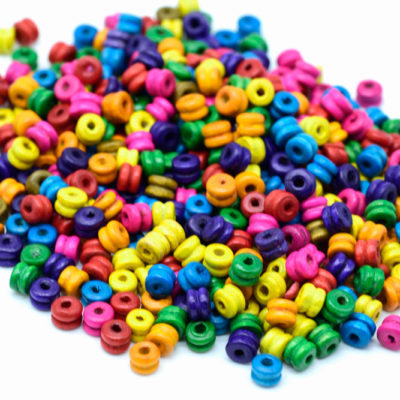 Tube Wood  Beads,    6x5mm, Wood Beads,  Painted Beads,  1mm Hole, 700-800pcs -B760