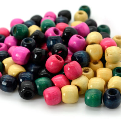 Wood Beads, 11x 12mm, 110pcs, Pony Beads, Mixed Colors, Wooden Beads  - B443