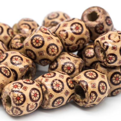 Wood Beads, 50pcs, 16x15mm, Macrame Beads,  Patterned Wood Beads, 4mm Hole -B750