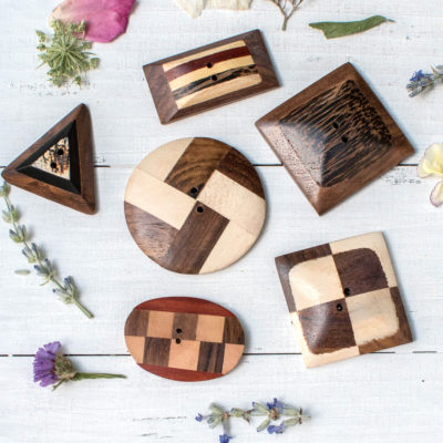 Wood Buttons, 6 pcs, Mixed Shape,  Wooden Buttons, Wood badge, Bag  Buttons -BN98