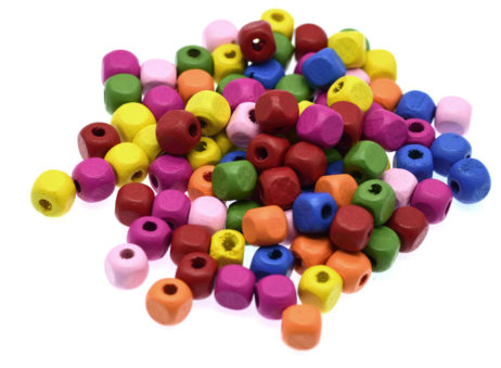 Wood Cube Beads, 8mm, Mixed Color, 250 pcs, Colored Wood Beads -B738