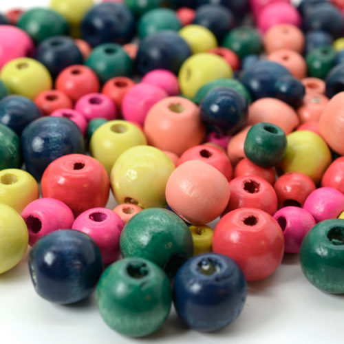 Wooden Beads, 150 pcs, 8 - 16mm, Mixed Sizes,  Round  Wood   Beads, Craft beads -B510