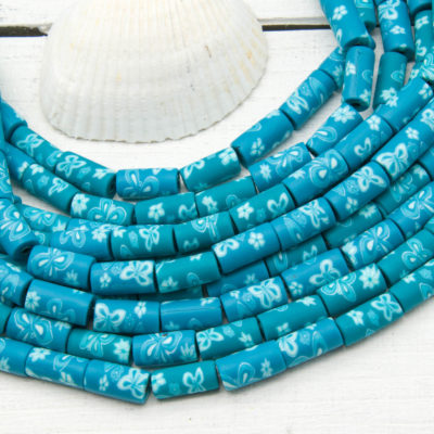 Aqua Polymer Clay Tube Beads, 12x6mm, 15 inch Strand, Aqua Brown, Spacer Beads -B1082