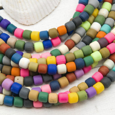 Polymer Clay Tube, 6x6mm, 16 Inch Strand, Mixed Color, Fimo Beads - B1087