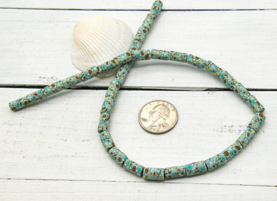 Polymer Clay Tube Beads, 12x6mm, 15 inch Strand, Aqua Brown, Spacer Beads - B1076