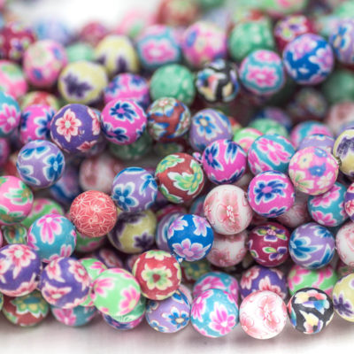 Round Polymer Clay  Beads, 10mm,  40pcs, 1mm, Fimo Beads, Flower Beads -B1012