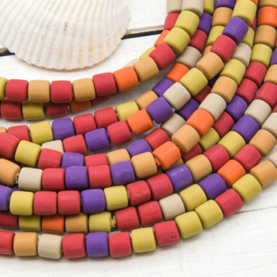 Tube Beads, Polymer Clay,  6x6mm, 16 Inch Strand, Mixed Color, Fimo Beads - B1081