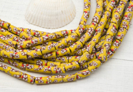 Yellow Polymer Clay Tube Beads, 12x6mm, 15 inch Strand, Aqua Brown, Spacer Beads -B1105