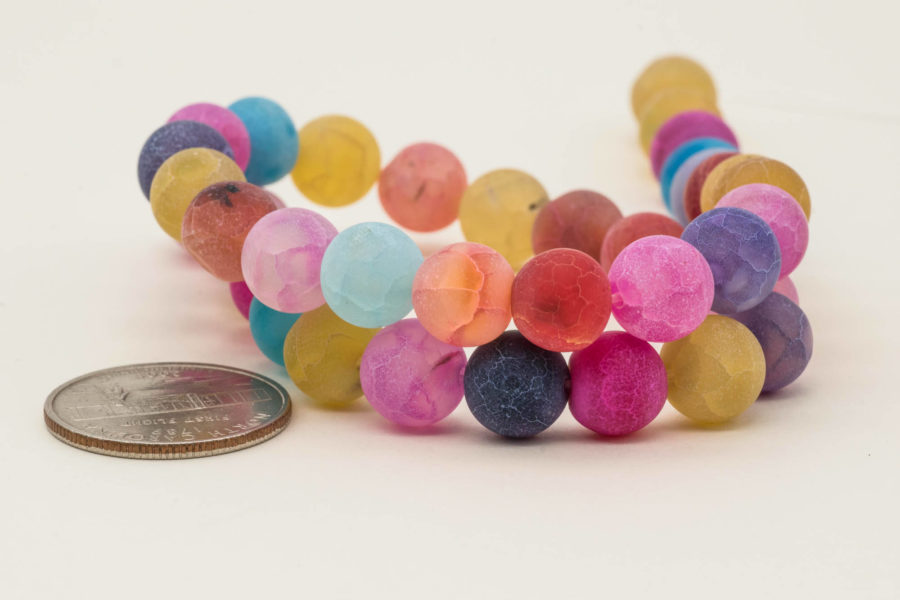 10mm Agate Beads,   Round Frosted Beads,  Mixed Color Strand, Dyed Agate  -B2000