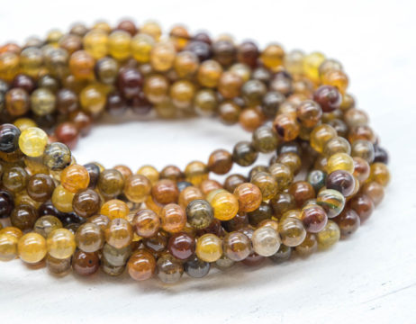 6mm Agate   Beads,  Natural Gemstone Beads, 14 Inch Strand, 60pcs, Brown Beads, Dyed Agate -P924