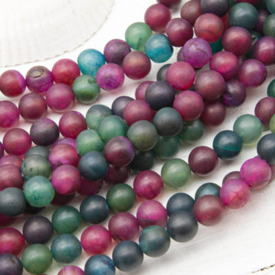 8mm Agate Beads,   Round Frosted Beads,   Dyed Agate, Round Agate Beads -B1096