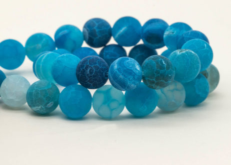 Agate Beads 10mm, Round Gemstone Beads,  Blue Frosted  Beads,    Dyed Agate -B2002