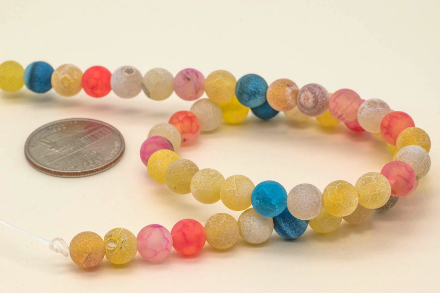 Agate Beads 8mm,   Round Frosted Beads,  Mixed Color, Dyed Agate, Gemstone Beads -B2027