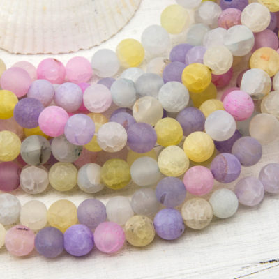 Agate Beads,  8mm Round Frosted Beads,  Pastel, Dyed Agate -B1084