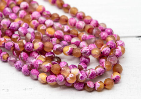 Agate Beads, Pink Faceted Beads, 6mm, 14 Inch Strand, 60pcs,   Gemstone Beads, Natural Stone -P936