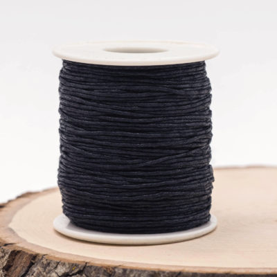 Black Waxed Cotton Cord  1mm, 75 meter Spool, Black Macrame  Cord