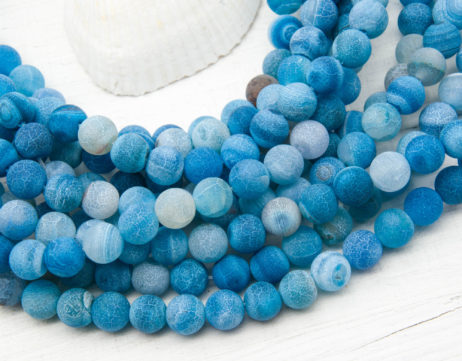 Blue 8mm Agate Beads,   Round Frosted Beads,  Aqua, Dyed Agate -B1079