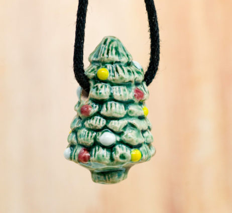 Christmas Tree Pendant, 1pcs, 30mm,  High Fired Raku  Beads, Christmas Beads, Holiday Tree, Winter Beads -R183
