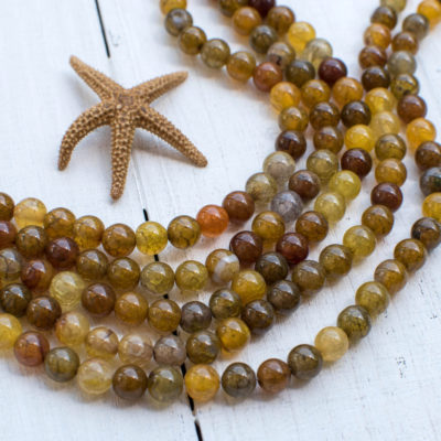 Crackle Agate  Gemstone Beads, 6mm, 14 Inch Strand, 62pcs,  Round Gemstone Beads -P996