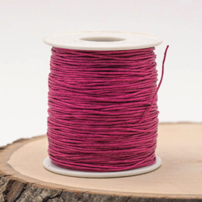 Dark Pink Waxed  Cotton Cord  1mm, 75 meter Spool, Macrame  Cord
