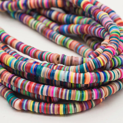Disc beads, Polymer Clay Beads, 6mm, 1 Strand, Heishi Beads, Necklace Beads, Jewelry Making Supply -B1149