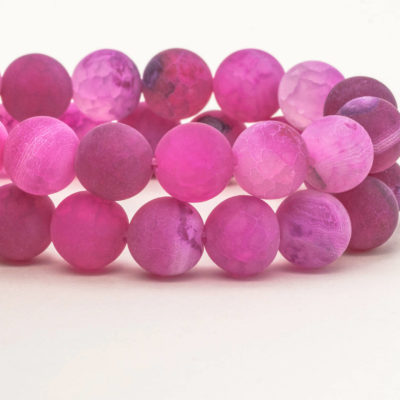 Frosted Agate   Beads 10mm, Gemstone Beads,  Round  Beads,  Pink Color, Dyed Agate -B2001