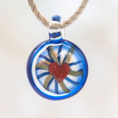 Glass heart Pendant,   1pc, 23mm, Round Pendant, Blown Glass Pendant, Red Heart