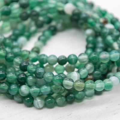 Green Agate   Beads, 6mm,  Round Agate Beads, 14 Inch Strand, 48pcs, Gemstone Beads  -P923
