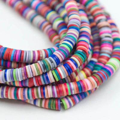Multi Color  Disc beads, Polymer Clay, 6mm, 1 Strand -B1048
