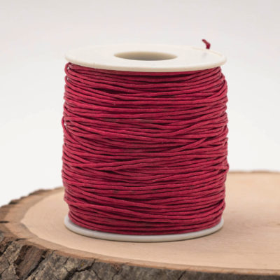 Red Cord  1mm, Waxed Cotton, 75 meter Spool, red Macrame  Cord