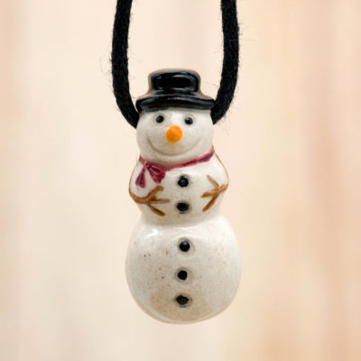 Snowman Pendant, 1pcs, 30mm,  High Fired Raku  Beads, Christmas Beads, Snowman, Winter Beads -R176