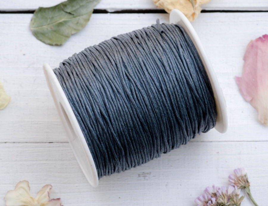 Waxed Cotton Cord  1mm, 75 meter Spool, Jewelry Cord, Waxed bead Cord, Grey Jewelry Cord