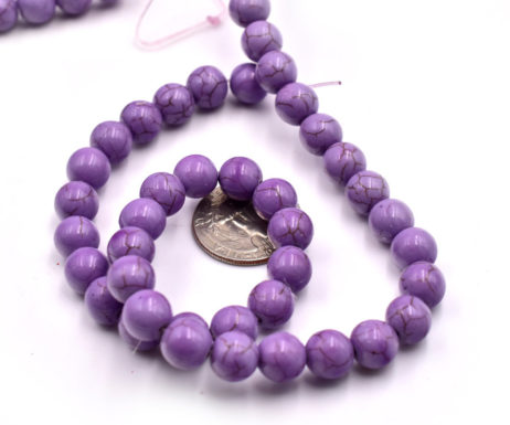 10mm Purple Howlite Stone  Beads,   15 inch Strand, 1mm Hole, Spacer Beads -b602