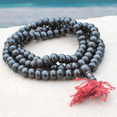 10mm Round Bone Beads,    108 Mala,   Dark Brown With Red Tassel,  33 inch Strand,   Dyed  Beads -B847