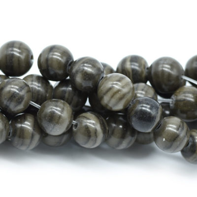 8mm Gemstone  Beads,  Black Wood Lace Stone, 15 Inch Strand, 48pcs, 1mm Hole -B702