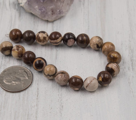 Agate Beads,  10mm, Natural  Gemstone Beads, 19pc Strand,  Brown Beads -B823