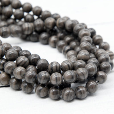 Black Wood Lace Gemstone  Beads, 8mm, 15 Inch Strand, 48pcs,  Round Gemstone Beads -P943