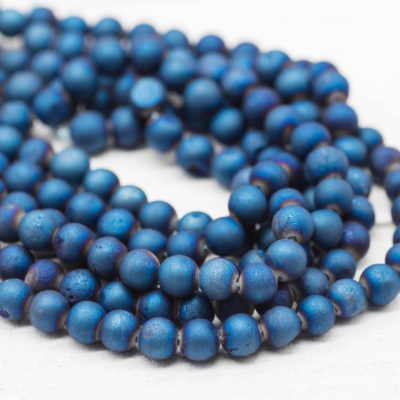 Blue Agate Beads, 6mm Gemstone, Mala Beads,  7 1/2 Inch Strand, Round Ball, Electroplated Gemstone Beads-B997
