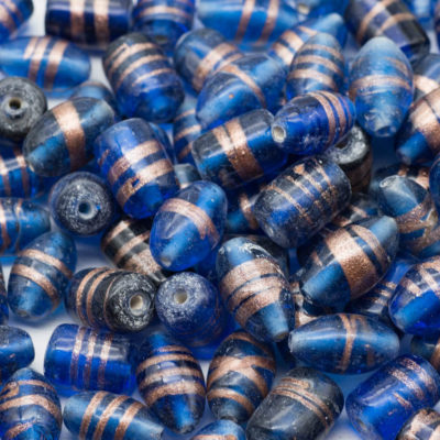 Blue Glass Beads, 40pcs, Mixed Sizes and Shapes,  India Glass  Beads, Gold Foil - B1158