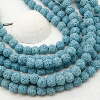Blue Lava Beads, 10mm, 15 Inch Strand, Natural Beads, Lava Stone Beads -B1095