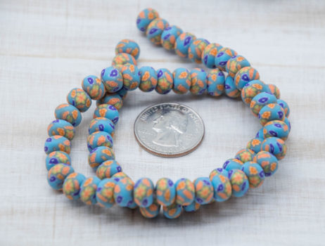 Blue Polymer Clay  Beads,  Abacus Shape, 8x6mm, Floral Fimo Beads, 62pc Strand
