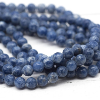 Blue Spot  Gemstone Beads, 6mm, 16 Inch Strand, 68pcs,  Round Gemstone Beads -B965