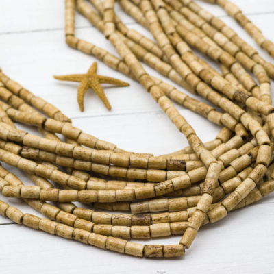 Bone  Tube Beads,  Bone beads, 8x7mm,  44pc Strand,  Brown Cowbone Beads, Natural Beads