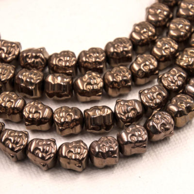 Buddha Beads,  8x8x7mm,  Hematite, 50pc Strand, Electroplated Beads, Copper Color -B820
